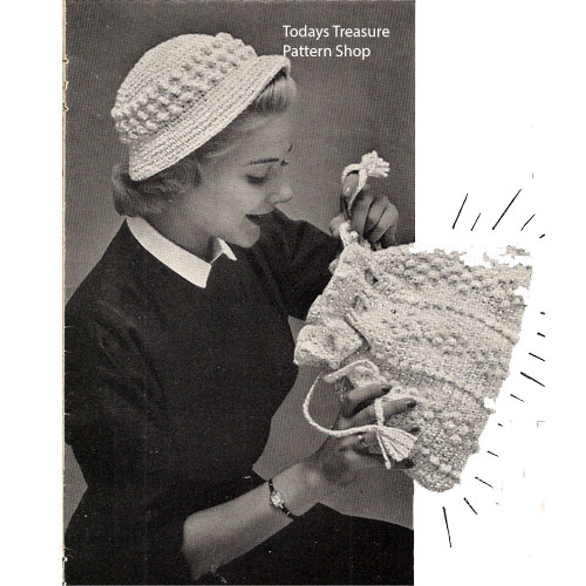 Vintage Drawstring Crochet Bag Pattern in Popcorn Stitch