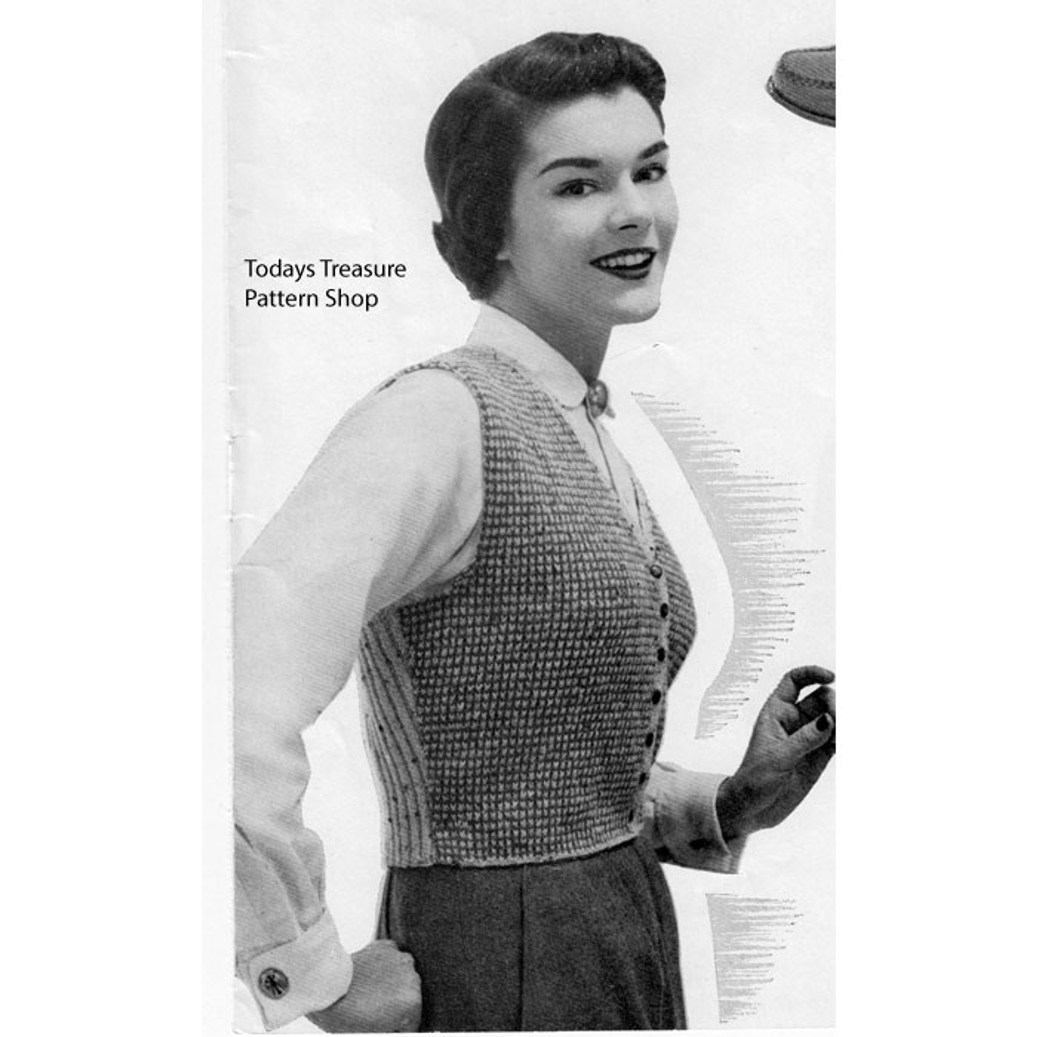 Vintage Knitted Westkit Pattern, Two Tone Checked