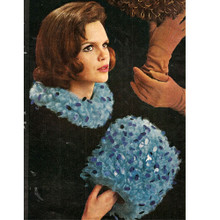 Crocheted Muff and Collar Pattern Set, Vintage 1960s