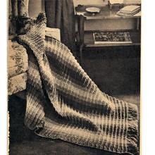 Beginners Afghan Crochet Pattern, Striped Fringed