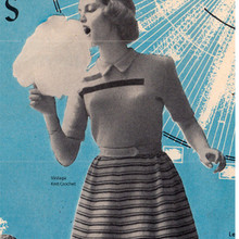 Vintage Knitted Striped Teen Dress Pattern