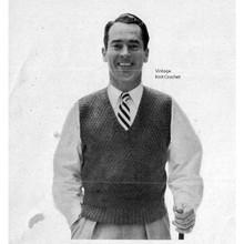 Mans Vintage V-Neck Pullover Pattern, Sleeveless