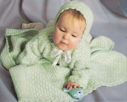Knitting Pattern, Baby Blanket Layette Set from Columbia Minerva