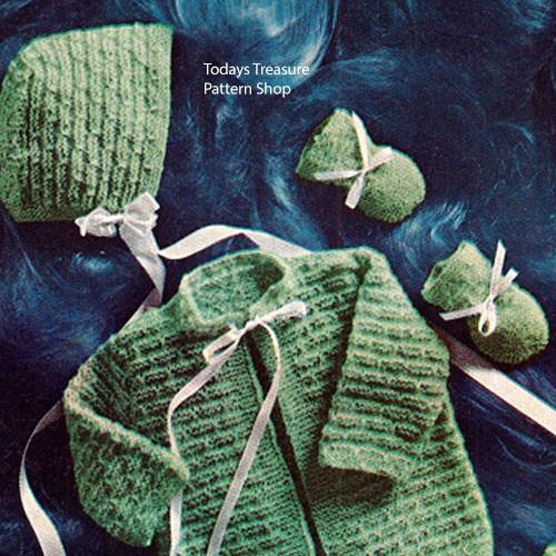 Vintage Knit Baby Jacket and Bonnet Pattern