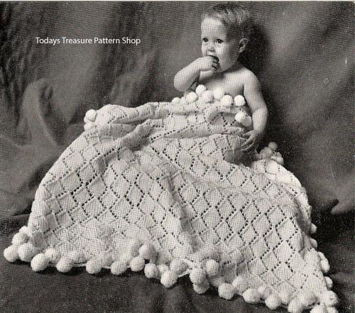 Diamond Knit Baby Blanket Pattern with Pompom border