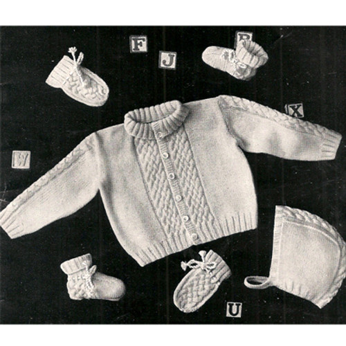 Baby Cable Sweater Pattern with Cap, Booties, Mittens