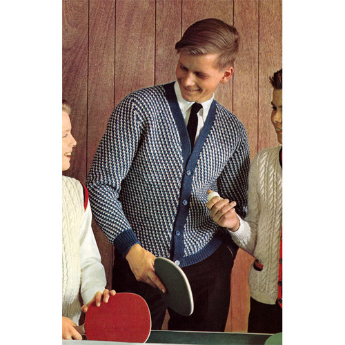 Teen Checked Cardigan Knitting Pattern