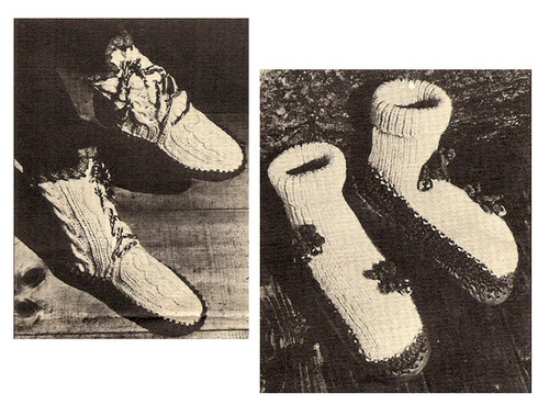 Knitted Slippers Pattern for Leather Soles