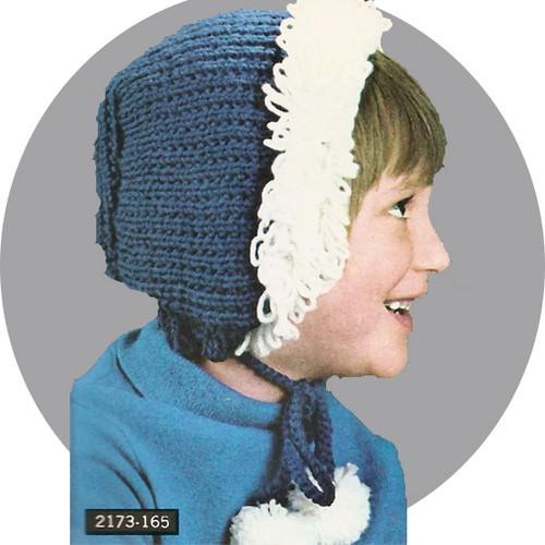 Girls Fringed Bonnet Hat Knitting Pattern