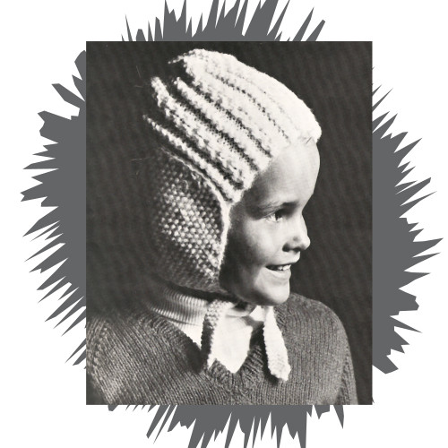 Girls Knitted Helmet Pattern with Neck Ties