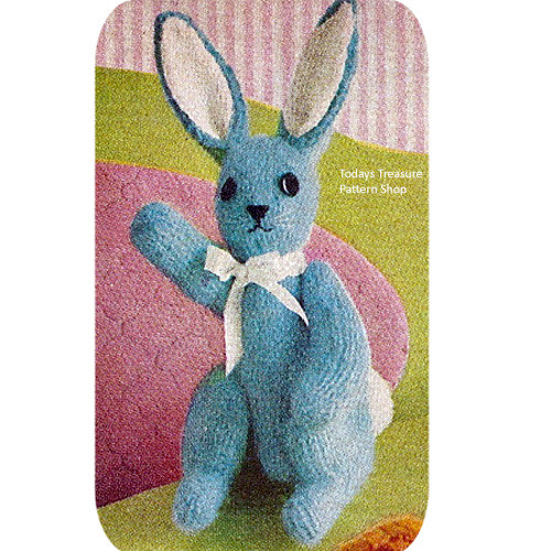 Knitting Pattern, Stuffed Bunny Rabbit Toy in Mohair