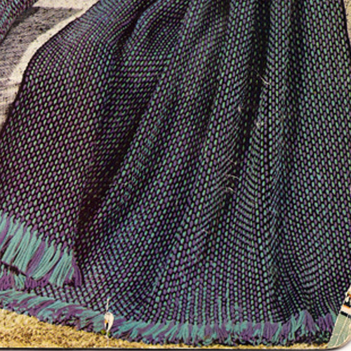 Vintage Blue Checked Afghan Crochet Pattern