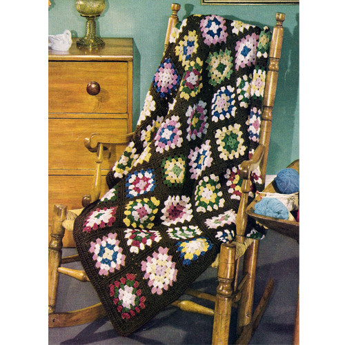 Easy Granny Square Colorful Crochet Afghan pattern