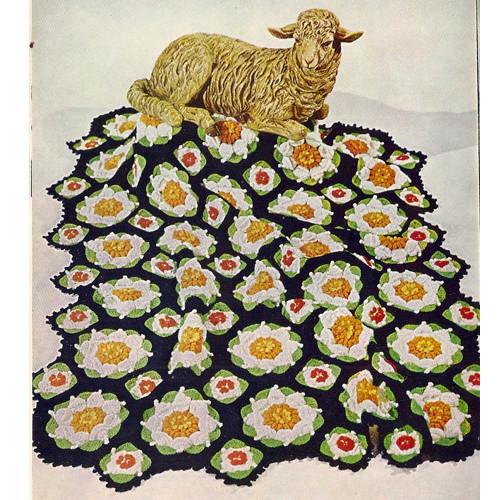 Vintage Flower Medallion Crochet Afghan Pattern