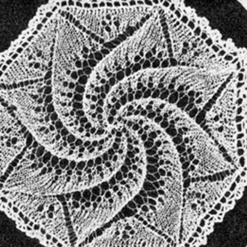 Vintage Knit Pinwheel Doily Pattern in Octagon Shape