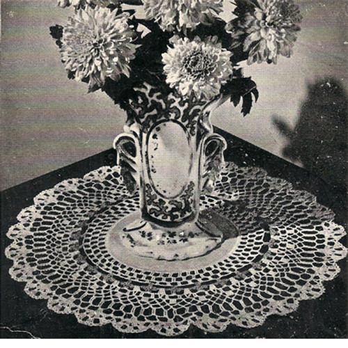 Centerpiece Crocheted Doily Pattern with Shell Border