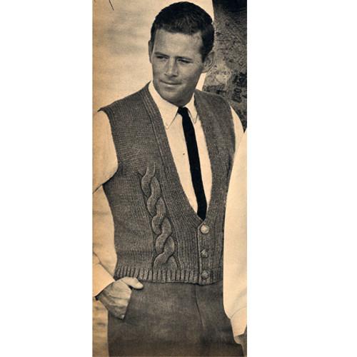 Mans Vintage Cable Vest Knitting Pattern