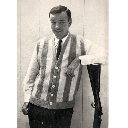 Mans Easy Striped Vest Knitting Pattern