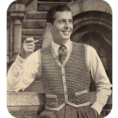 Vintage Tweed Short Waisted Vest Knitting Pattern