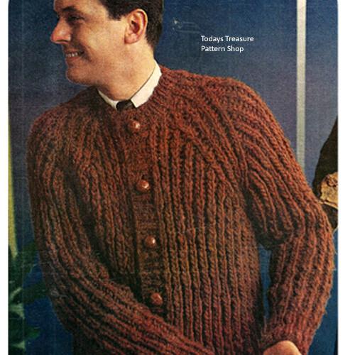 Vintage Ribbed Cardigan Knitting Pattern