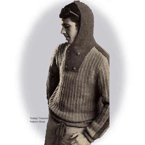 Vintage Hooded Pullover Knitting Pattern