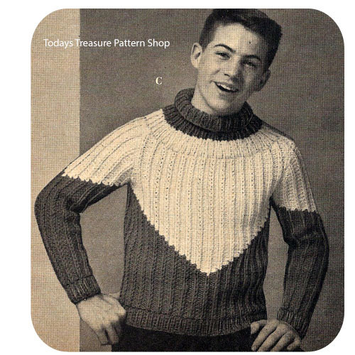 Boys Ribbed Turtleneck Knitting Pattern