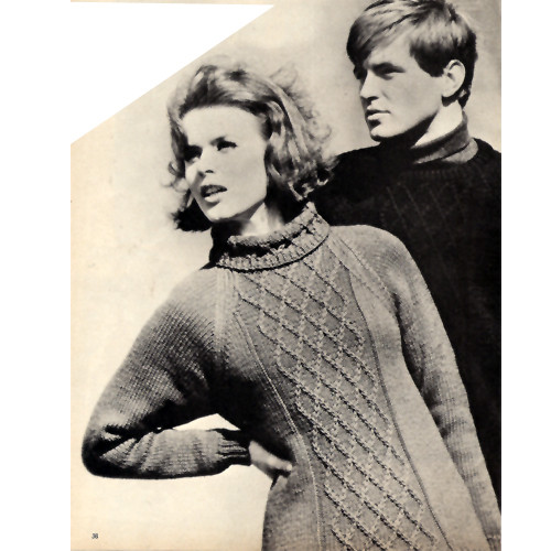 Trellis Knit Pullovers Pattern, His & Hers, Vintage 1960s