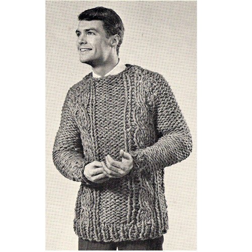 Mans Big Needle Knit Cable Pullover Pattern