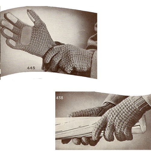 Unisex Knitted Gloves Pattern is Vintage 1940s