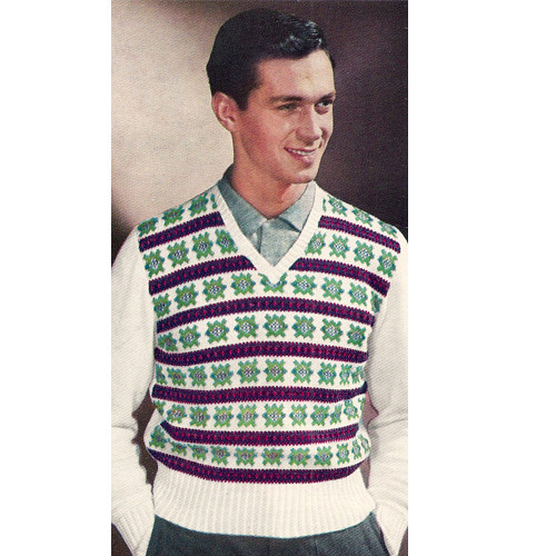 Mans Striped Motif Knitted Pullover Vest Pattern