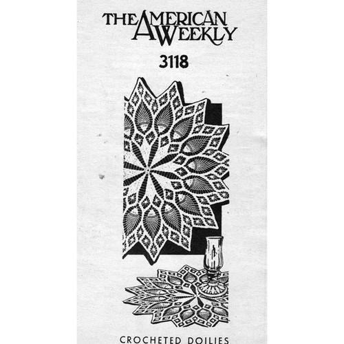 Pineapple Flower Crocheted Doily Mail Order 3118