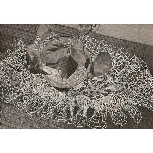 Crochet Shooting Star Oval Ruffled Doily Pattern