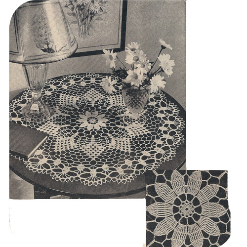 Vintage Sunburst Crocheted Pineapple Doily Pattern