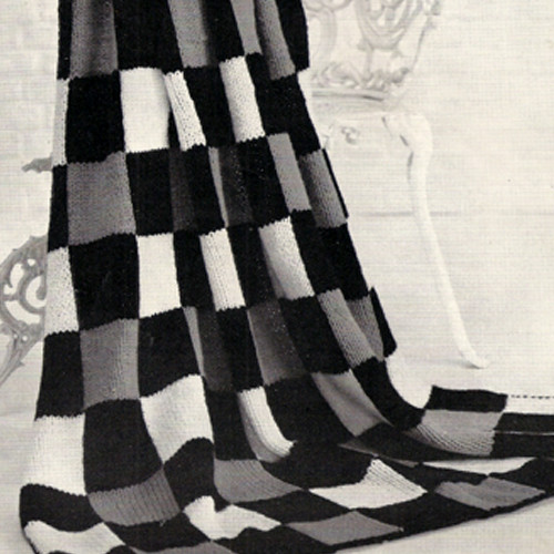 Knitting Pattern Checkerboard Afghan in three colors