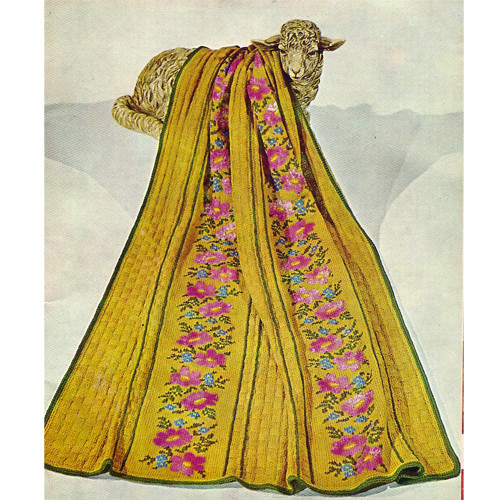 Knitted Afghan Pattern with Flower Embroidery Panels