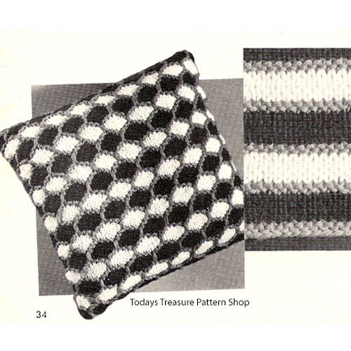 Knitting Pattern for Smocked Checkerboard Pillow