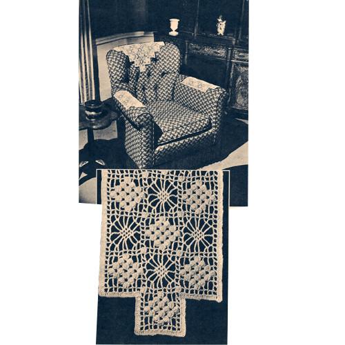 Three Piece Crochet Chair Set Pattern, Vintage 1940s