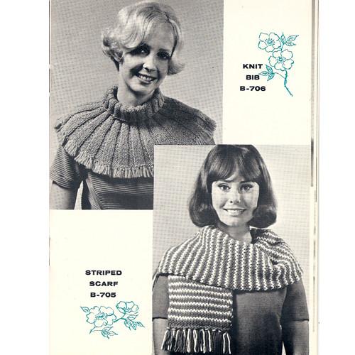 Knitted Scarf & Bib Collar Pattern, Vintage 1960s
