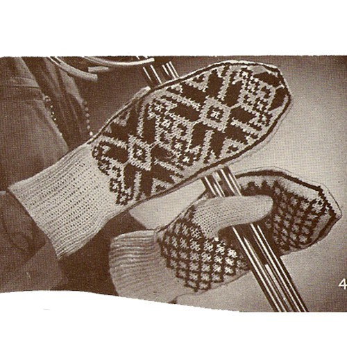 Vintage Knitted Gloves with Aztec Motif