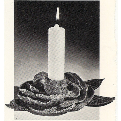 Crochet Candle Holder Pattern, Camellia Flower