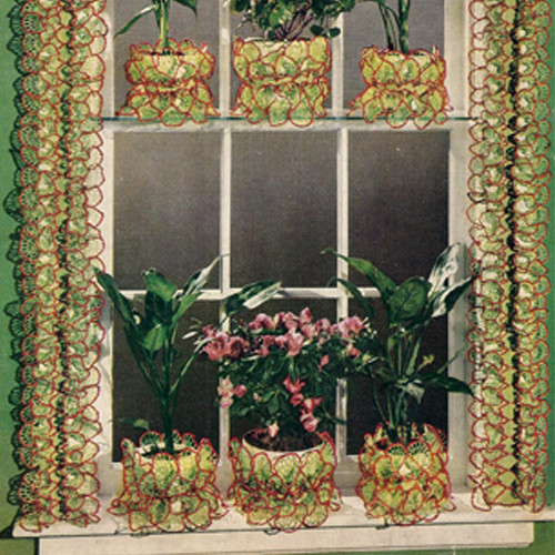 Vintage Crochet Ruffled Plant Covers