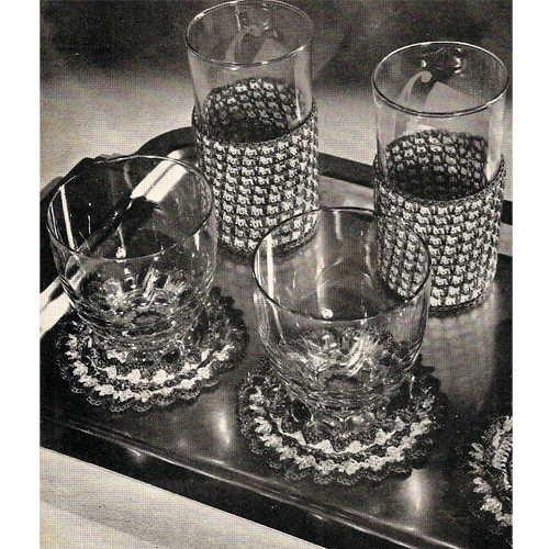 Crochet Glass Jackets Pattern with Coasters