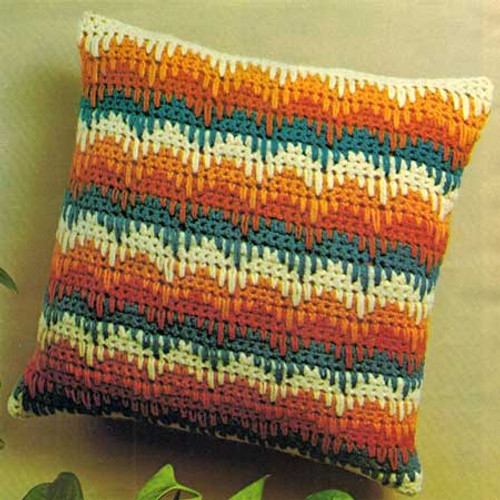 Crochet Bargello Pillow Pattern is 14 inches square