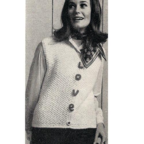 Misses Love Vest Knitting Pattern