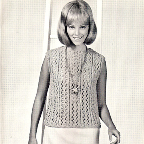 Lace Shell Knitting Pattern, Vintage 1960s