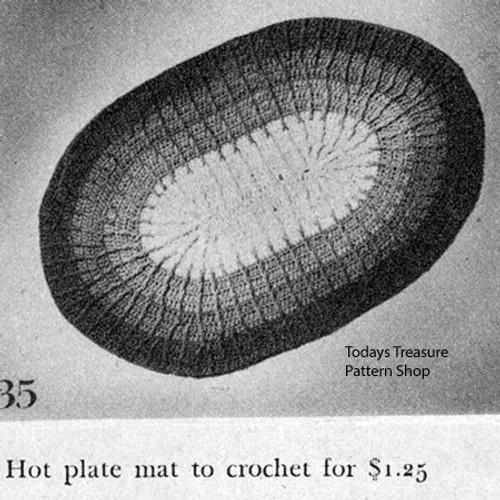 Vintage Crochet Oval Hot Mat Pattern