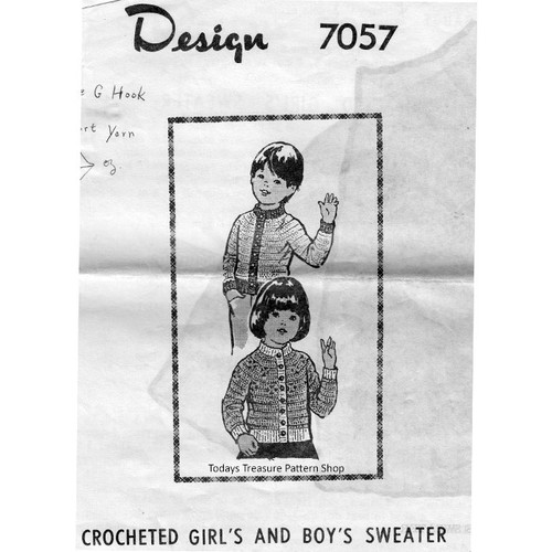 Mail Order Childs Crochet Sweater Pattern