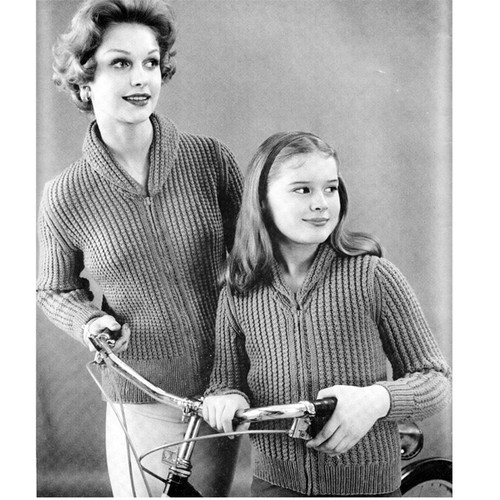 Knitted Ribbed Cardigans Knitting Pattern Mother Daughter