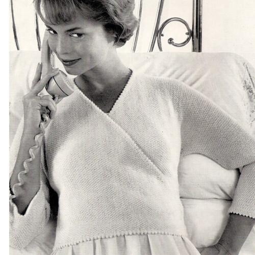 Vintage Wrap Blouse Knitting Pattern with V-Neck