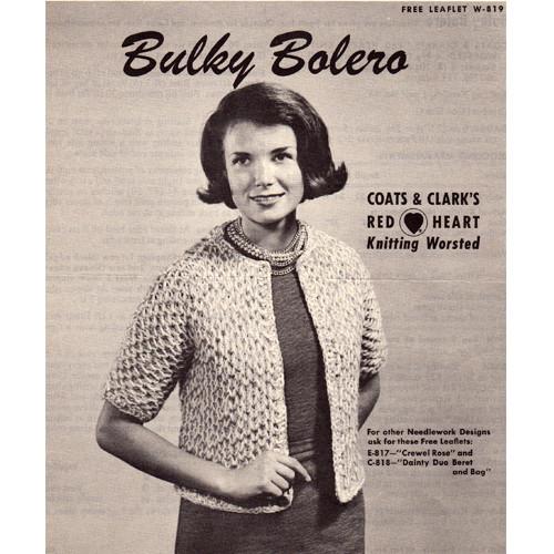 Easy Bulky Bolero Knitting Pattern, CCL Leaflet W-819